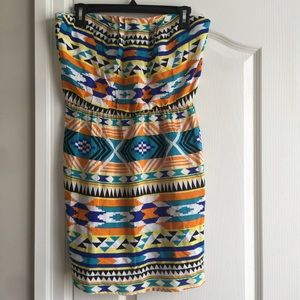Strapless Colourful Aztec Pattern Summer Dress
